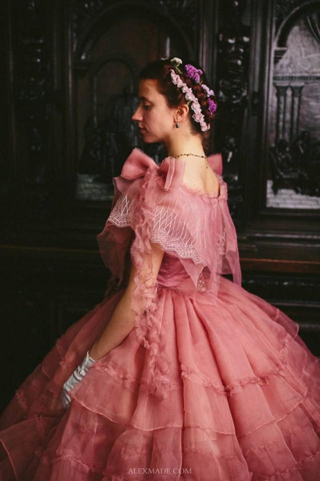 Civil War Rose Dress, 1860s Ball Gown