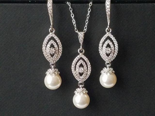 wedding photo - Pearl Bridal Jewelry Set, White Pearl Silver Wedding Set, Swarovski Pearl Earrings Necklace Set, Pearl Bridal Earrings, Bridal Pearl Pendant