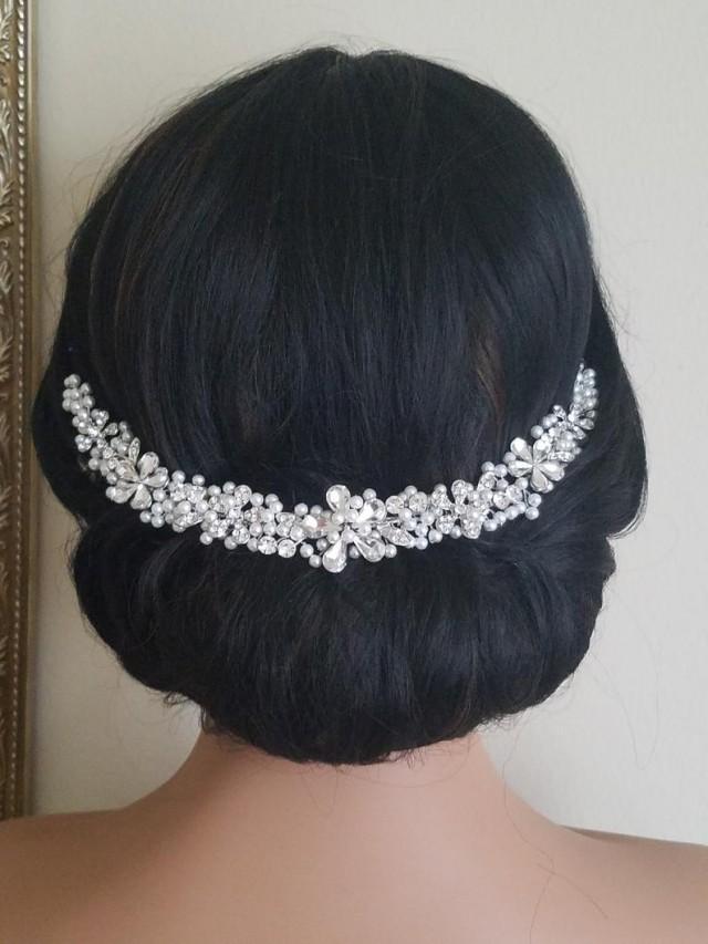 wedding photo - Pearl Crystal Bridal Hair Vine, Wedding Hair Piece, Bridal Tiara, Pearl Silver Hair Wreath, Crystal Pearl Bridal Crown, Wedding Hair Jewelry