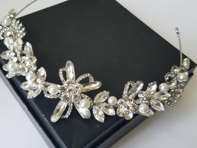 wedding photo - Bridal Crystal Hair Wreath, Wedding Hair Piece, Rhinestone Pearl Hair Vine, Pearl Silver Headpiece Crystal Floral Hair Tiara Bridal Headband