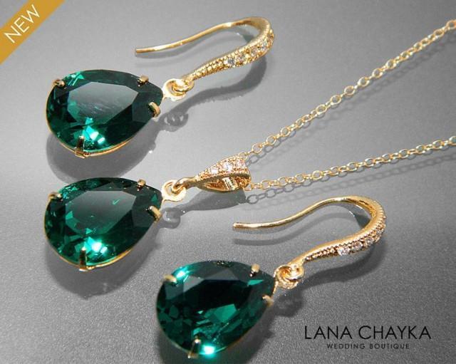 wedding photo - Emerald Green Crystal Jewelry Set Emerald Gold Earrings&Necklace Set Swarovski Emerald Rhinestone Jewelry Set Wedding Green Jewelry Sets