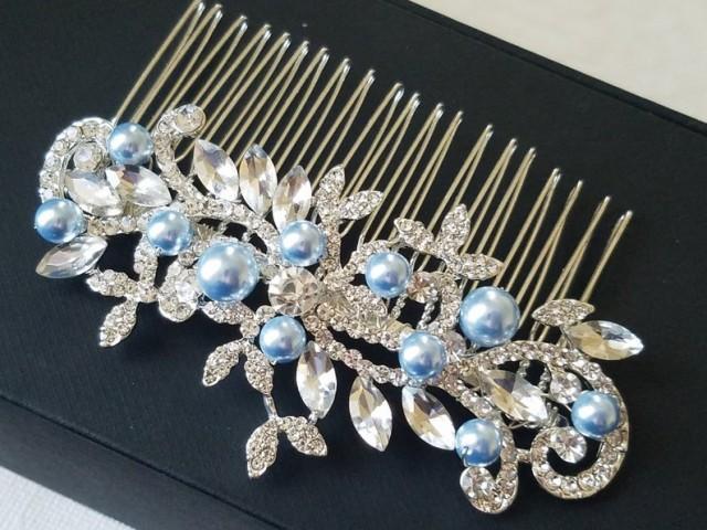wedding photo - Crystal Blue Pearl Bridal Hair Comb, Swarovski Blue Pearl Silver Hair Piece, Wedding Bridal Headpiece, Bridal Light Blue Floral Hair Piece