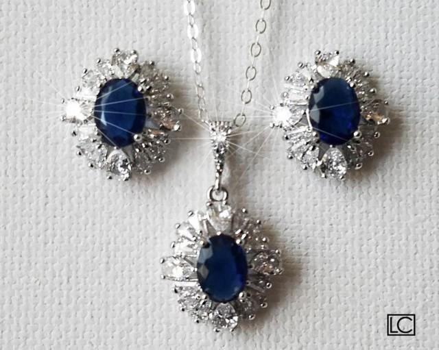 wedding photo - Navy Blue Crystal Bridal Jewelry Set, Sapphire Halo Studs Pendant Wedding Set, Blue Cubic Zirconia Bridal Set Navy Dainty Jewelry Bridal Set