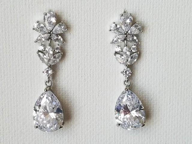 wedding photo - Crystal Bridal Earrings, Cubic Zirconia Teardrop Silver Earrings, Wedding Clear Crystal Earrings Statement Earrings Wedding Zirconia Jewelry