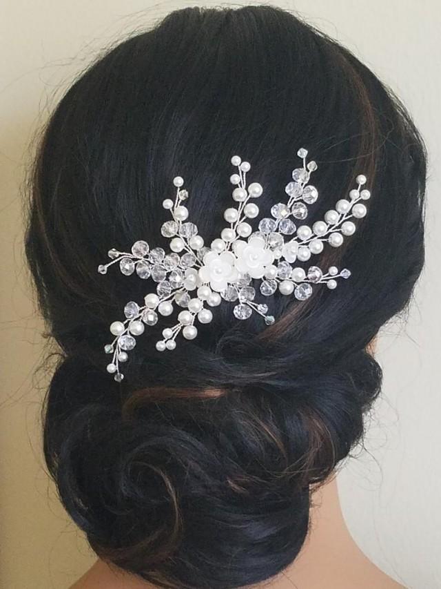 wedding photo - Wedding Hair Comb, Bridal Pearl Crystal Hairpiece, Pearl Crystal Floral Headpiece, Wedding Hair Jewelry, Bridal Hair Piece, Hair Accessories