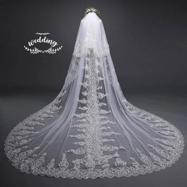 Cathedral Ivory Wedding Veil with Embroidery,Ivory Bridal Veil-Ivory Veil,Chapel Veil,Ivory Wedding Veil with comb, Embroidered Blusher Veil