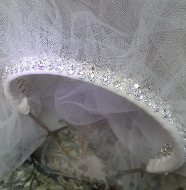 Swarovski Australian Crystal Headband White Illusion Bridal Wedding Long Veil, Matching Sequin Mask, Finest, Exquisite