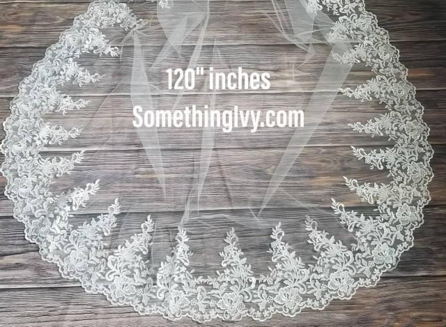 """Fast Ship - 120"""" Beaded CathedralLace Wedding Veil  - Long Veils - 120"""" inches long - Lace Cathedral Veil, Veils With Lace"""