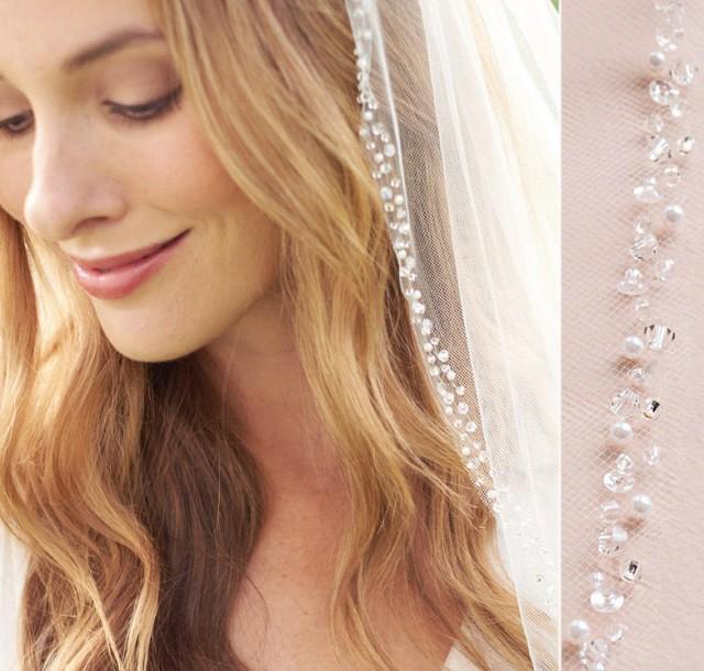 Pearl Wedding Veil, Crystal Bridal Veil, Beaded Veil, Ivory Veil, White Veil, Elbow Veil, Fingertip Veil, Cathedral Veil, Bride Veil~VB-5008