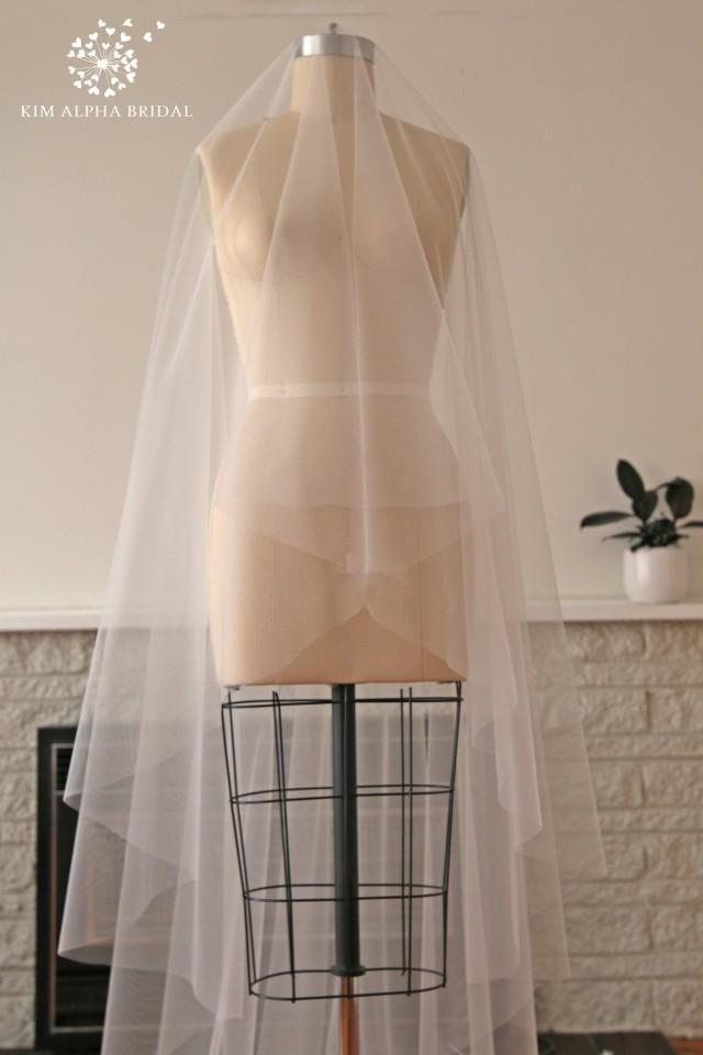 HAYLA veil, drop veil, blusher veil, cathedral veil, long veil, chapel veil, wedding veil, bridal veil, custom veil, Made in Australia