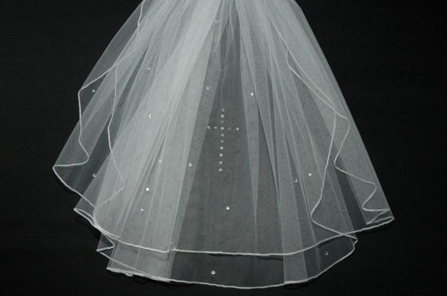Holy, Communion Veil, Crystal Cross, Wedding, Bridal, 2 Tier, Bouffant, White, Ivory, Short, Catholic, Waist, Elbow, Length, LB Veils 140 UK