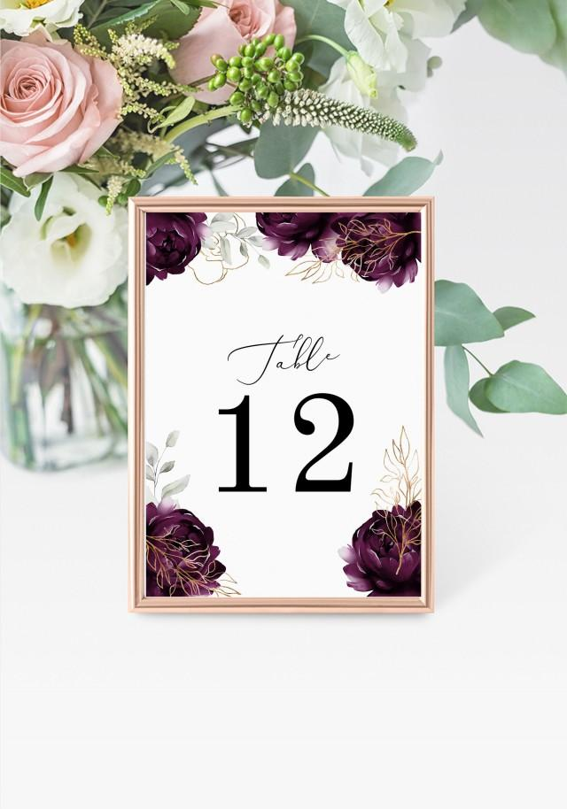 """Purple Table Numbers 5x7"""" INSTANT DOWNLOAD, Printable Wedding Table Numbers, DIY Printable Decorations, Templett, Editable, INSW029"""