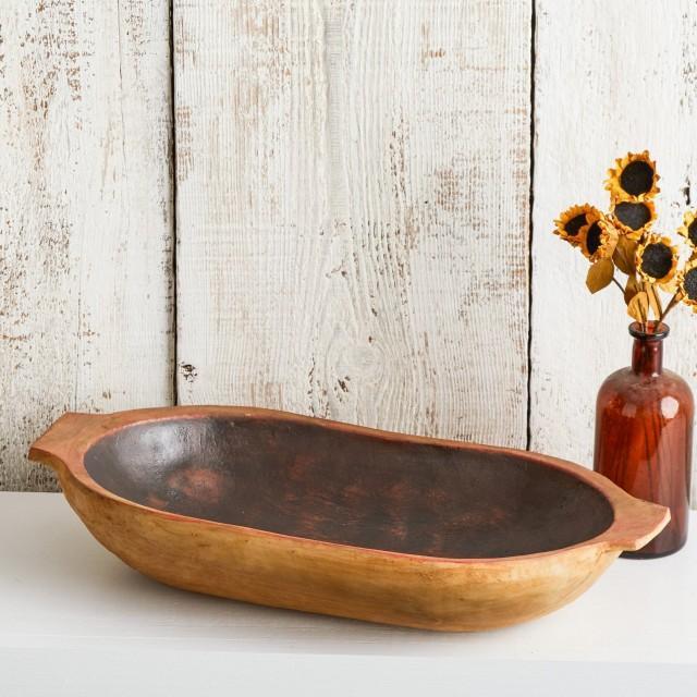 Rustic Dough Bowl, Table Centerpiece, Decorative Bowl, Entryway Organizer, Vintage Replica Bowl, Rustic Farmhouse Decor, Dough Trencher Bowl