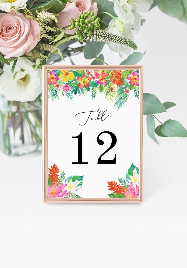 """Tropical Table Numbers 5x7"""" INSTANT DOWNLOAD, Printable Wedding Table Numbers, DIY Printable Decorations, Templett, Editable, INSW013"""