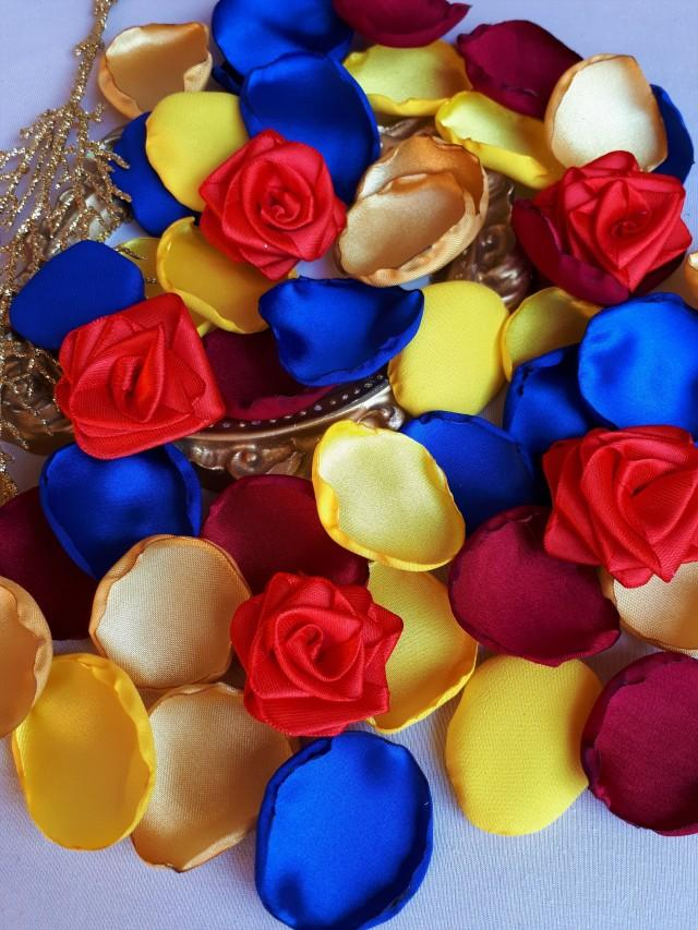 Beauty And The Beast Inspired Burgundy, Yellow, Gold, Royal Blue Rose Petals with Red Roses Disney Wedding Decor Disney Birthday Party Decor