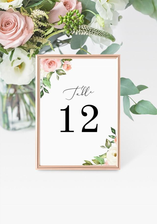 """Roses Table Numbers 5x7"""" INSTANT DOWNLOAD, Printable Wedding Table Numbers, DIY Printable Decorations, Templett, Editable, INSW020"""