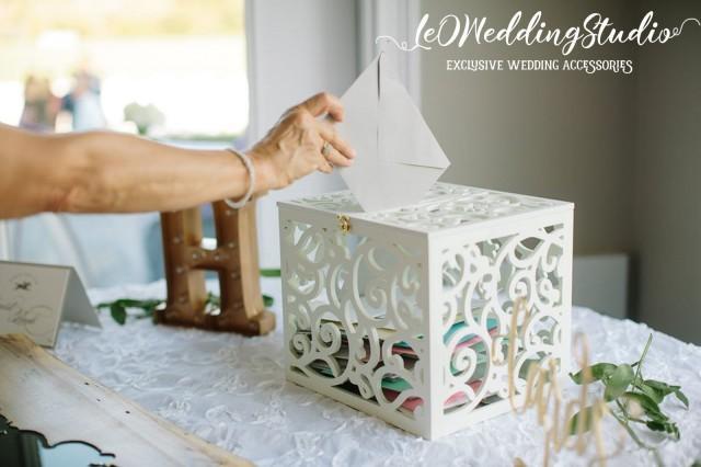 Wedding Card Box BIG SIZE-Wedding Gift-Plywood box-White Keepsake Box-Wedding money box-Wedding card money holder-Drop Box-Monogram Card Box