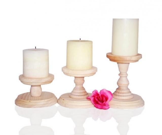 1- Wood Pillar Candlestick Holders, DIY Wedding Accents, Candlestick Holders, Wedding Table Candlesticks, Table Centerpiece, Ready to Paint
