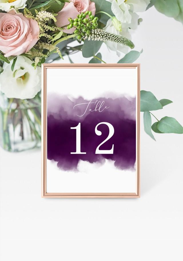 """Purple Table Numbers 5x7"""" INSTANT DOWNLOAD, Printable Wedding Table Numbers, DIY Printable Decorations, Templett, Editable, INSW030"""