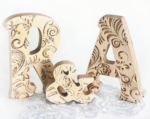 Initials wedding decor monograms gifts Fancy door letter family name decoration Just married wooden letters for shelf A and R Rustic Shebby