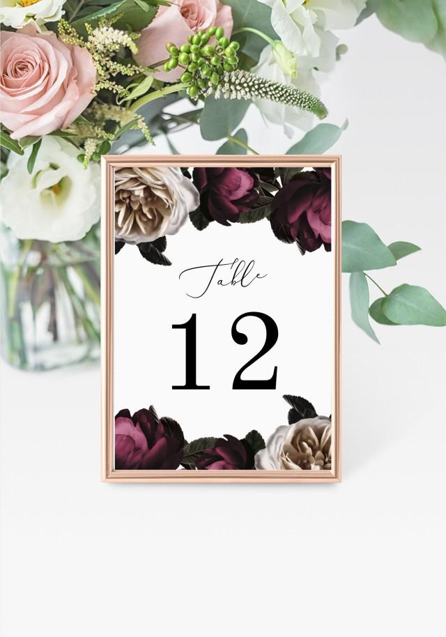"""Purple Table Numbers 5x7"""" INSTANT DOWNLOAD, Printable Wedding Table Numbers, DIY Printable Decorations, Templett, Editable, INSW028"""