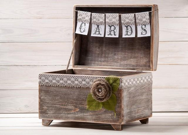 Wedding Card Box, Rustic Card Holder with Cards Banner, Honeymoon Fund Box, Big Wooden Chest, Envelopes Drop in Memory, Wishing Well