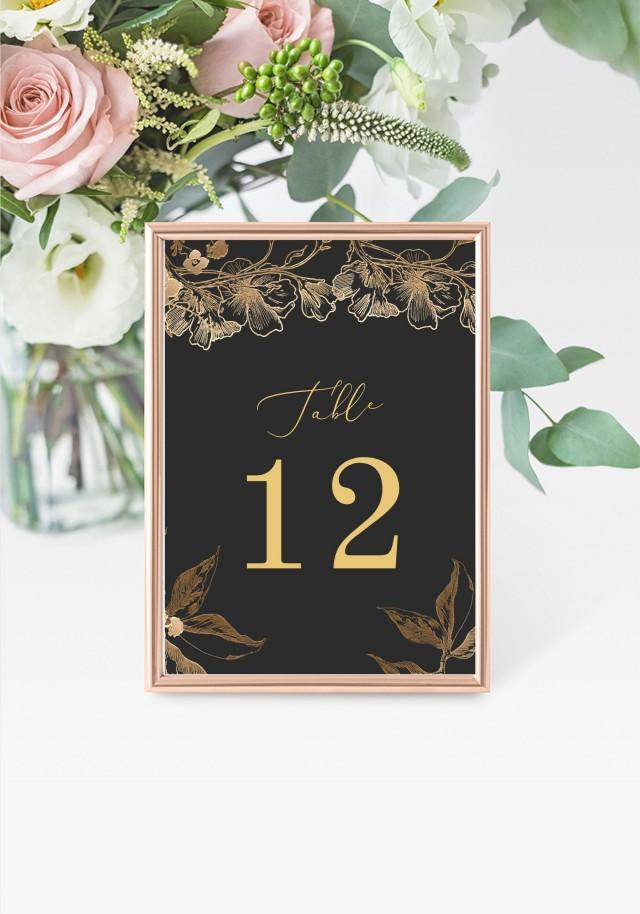 """Black & Gold Table Numbers 5x7"""" INSTANT DOWNLOAD, Printable Wedding Table Numbers, DIY Printable Decorations, Templett, Editable, INSW016"""