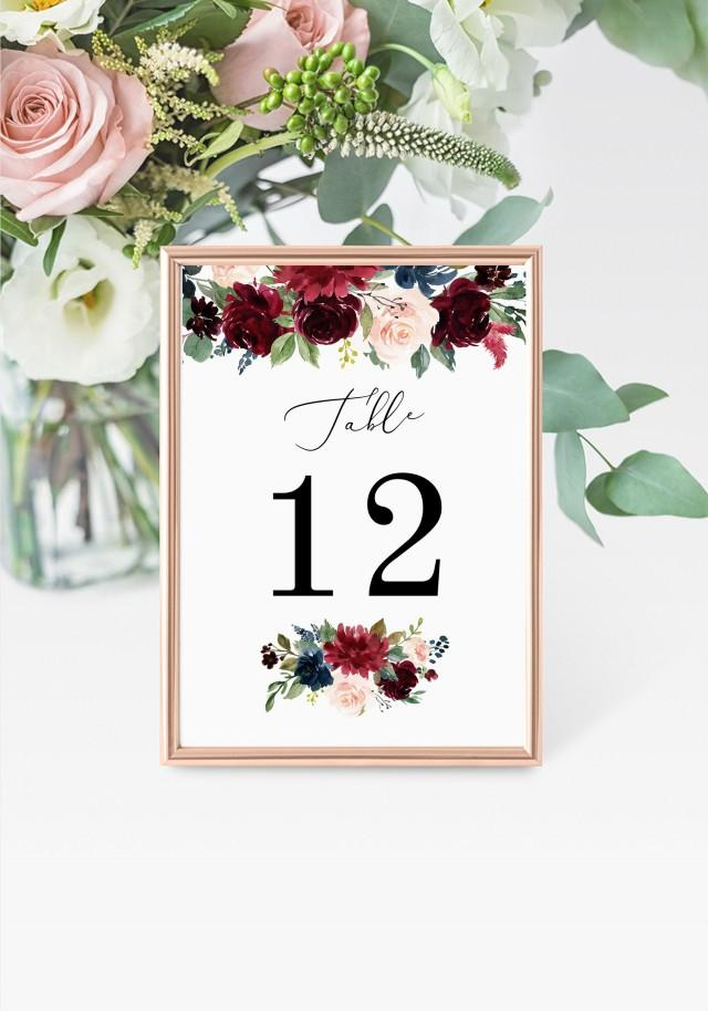 """Burgundy Table Numbers 5x7"""" INSTANT DOWNLOAD, Printable Wedding Table Numbers, DIY Printable Decorations, Templett, Editable, INSW009"""