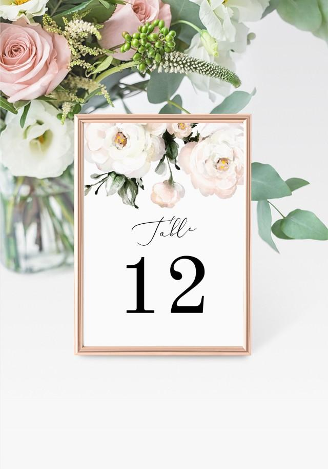 """Roses Table Numbers 5x7"""" INSTANT DOWNLOAD, Printable Wedding Table Numbers, DIY Printable Decorations, Templett, Editable, INSW021"""