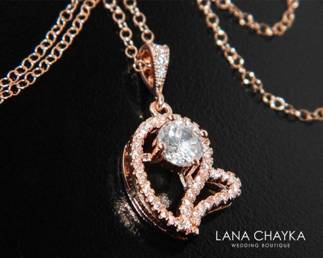 wedding photo - Rose Gold Heart Necklace, Wedding Rose Gold Charm Necklace, CZ Heart Pendant Necklace, Bridal Heart Necklace, Pink Gold CZ Heart Necklace