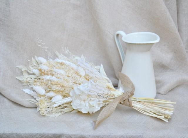 wedding photo - White Dried Flowers Bouquet, Hydrangea Preserved Bouquet, Boho Bridal Bouquet, Dried Flowers Arragement, Forever Flowers Decor Home.
