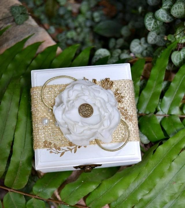 wedding photo - Gold Ring Box Wedding, White Ring Bearer Box with Gold and Flower Fabric, Delicate wooden alliance holder box, Glamour Wedding Ceremony