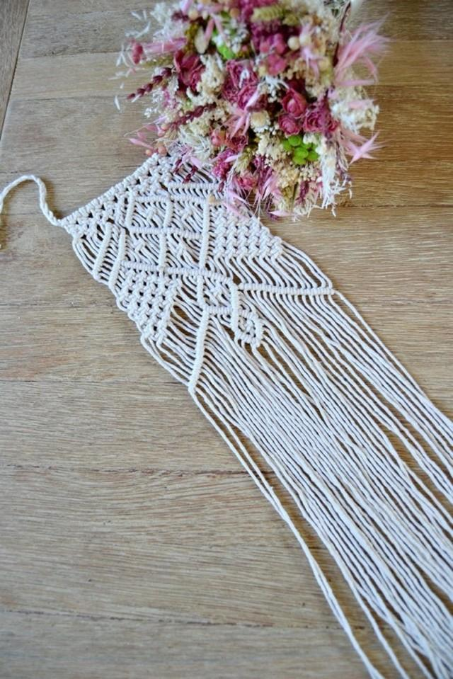 wedding photo - Wedding Flower Bouquet Wrap, Macrame Bouquet Wrap, Boho Bridal Accessory, Macrame Wedding Decor, Bouquet Holder.