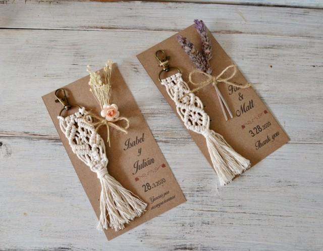 wedding photo - Macrame Keychain Wedding Favor, Personalized Wedding Favor Bohemian Wedding, Bridesmaid Gift, Bridal Shower Favors, Macrame Key Ring.