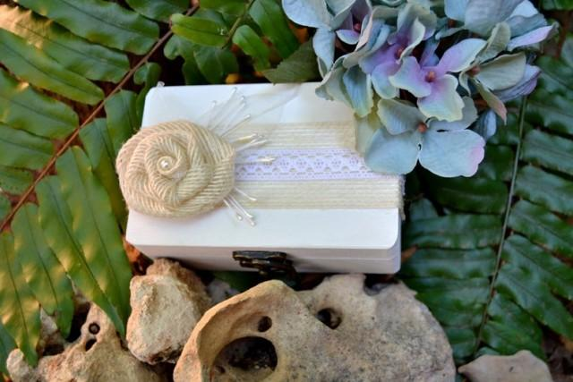 wedding photo - White Wedding Ring Box, Wood Ring Bearer Box Burlap Flower, Ring Pillow, Ring Holder, Wedding Gift, Proposal Box.
