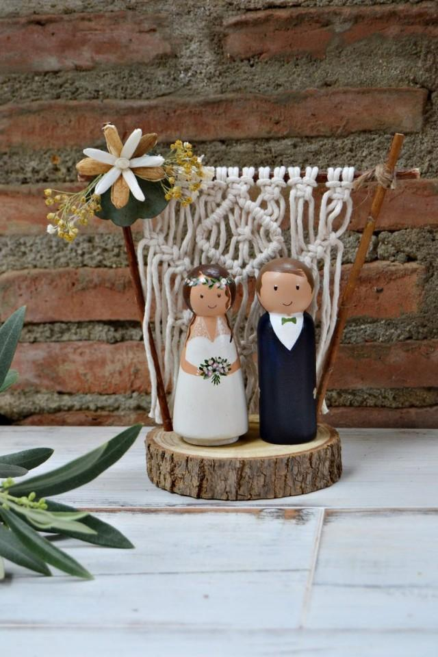 wedding photo - Wedding Cake Topper Macrame Backdrop, Bohemian Cake Topper, Personalized Cake Topper Figurine with Branch Slice Stand, Peg Doll Cake Topper.