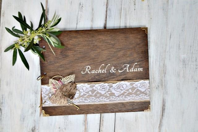 wedding photo - Personalized Wedding Guest Book, Wood Guest Book, Lace Heart Guest Book, Photo Album, Wedding Gift for Bride.