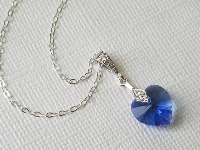 wedding photo - Blue Heart Crystal Necklace, Sapphire Heart Dainty Necklace, Swarovski Sapphire Heart Small Necklace, Heart Jewelry, Wedding Heart Pendant