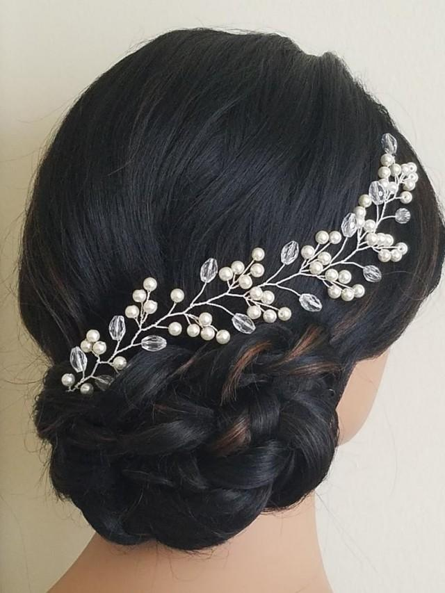 wedding photo - Pearl Bridal Hair Piece, Wedding Ivory Pearl Crystal Hair Vine, Pearl Hair Jewelry, Bridal Headpiece, Wedding Hair Piece, Wedding Hair Piece