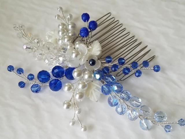 wedding photo - Blue Crystal White Pearl Hair Comb, Sapphire Blue Hair Piece, Wedding Headpiece, Blue Crystal Pearl Floral Hairpiece Blue White Hair Jewelry