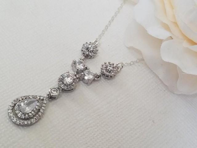 wedding photo - Cubic Zirconia Dainty Bridal Necklace, Teardrop Crystal Silver Necklace, Wedding CZ Necklace, Bridal Delicate Necklace, Prom CZ Necklace