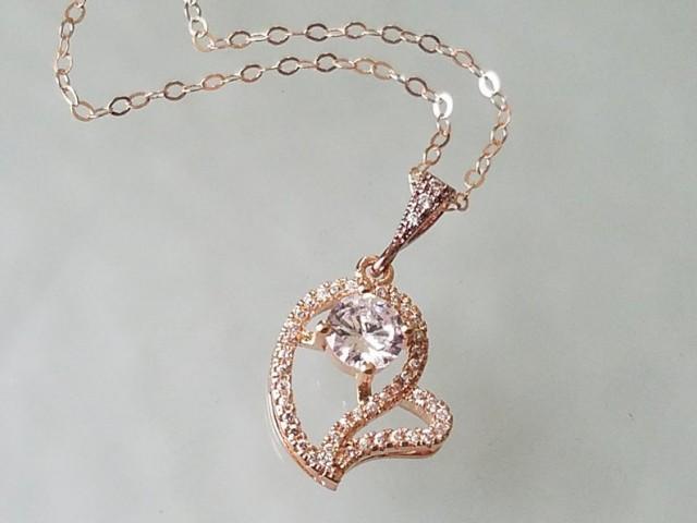 wedding photo - Heart Rose Gold Necklace, Wedding Rose Gold Charm Necklace, CZ Heart Pendant Necklace, Bridal Heart Necklace, Pink Gold CZ Heart Necklace