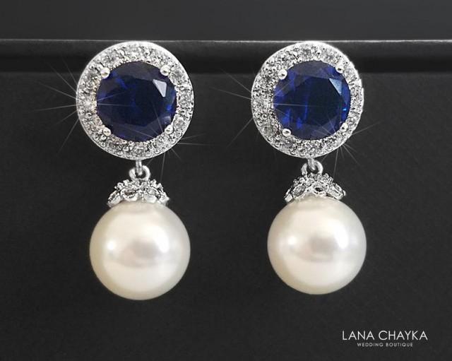 wedding photo - Pearl Bridal Earrings, White Navy Blue Wedding Earrings, Swarovski 10mm Pearl Drop Earrings, Pearl Bridal Jewelry, Pearl Navy Blue CZ Studs