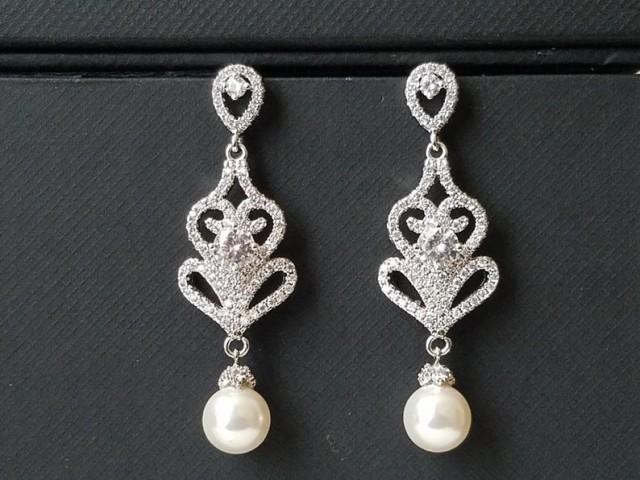wedding photo - Pearl Chandelier Bridal Earrings, Swarovski White Pearl Dangle Earrings, Pearl Bridal Jewelry, Wedding Pearl Jewelry, Pearl Silver Earrings