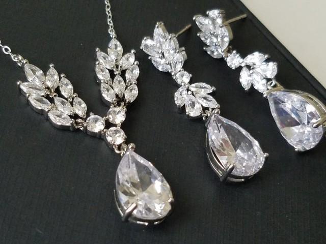 wedding photo - Crystal Bridal Jewelry Set, Cubic Zirconia Wedding Earrings Necklace Set, Bridal Crystal Jewelry, Statement CZ Earrings, Zirconia Necklace