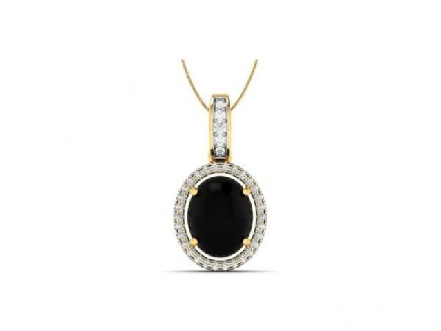 wedding photo - 5 Carat Natural Black Diamond Pendant 14k Solid Gold