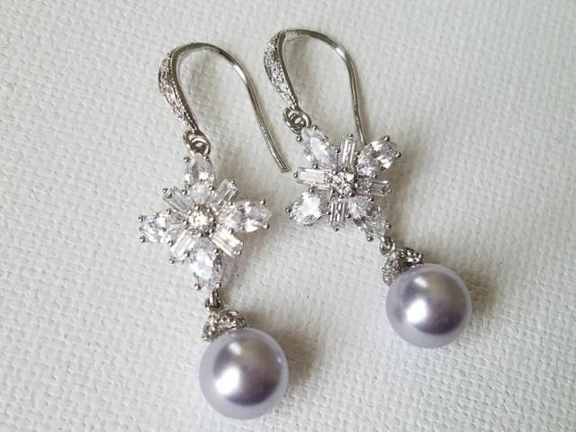 wedding photo - Lavender Pearl Wedding Earrings, Pastel Lavender Lilac Bridal Earrings, Swarovski Lavender Pearl CZ Earrings, Lilac Silver Bridal Jewelry