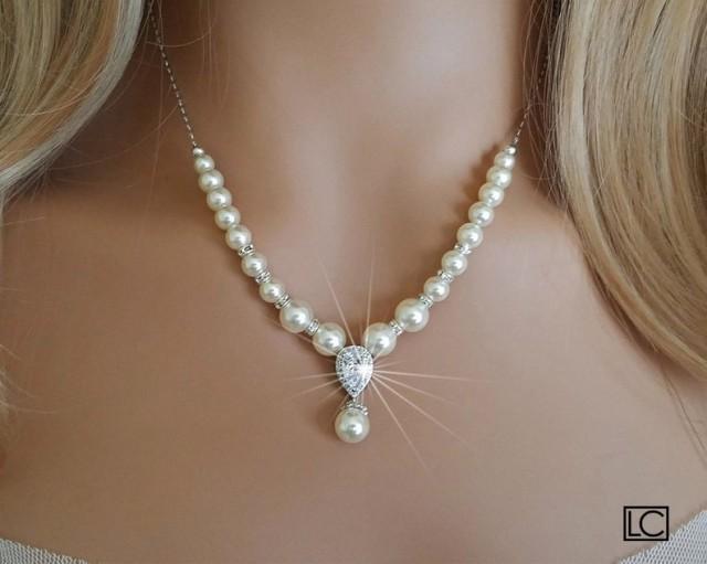 wedding photo - Pearl Bridal Necklace, Wedding Pearl Backdrop Necklace, Swarovski Ivory Pearl Silver Necklace, Pearl Bridal Jewelry, Wedding Pearl Jewelry