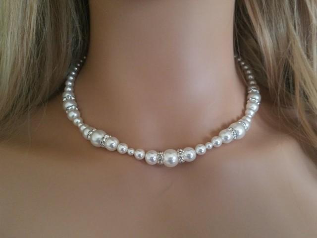 wedding photo - Pearl Bridal Necklace, Swarovski White Pearl Silver Necklace, Wedding Necklace, Bridal Pearl Jewelry, Wedding Jewelry, Statement Necklace