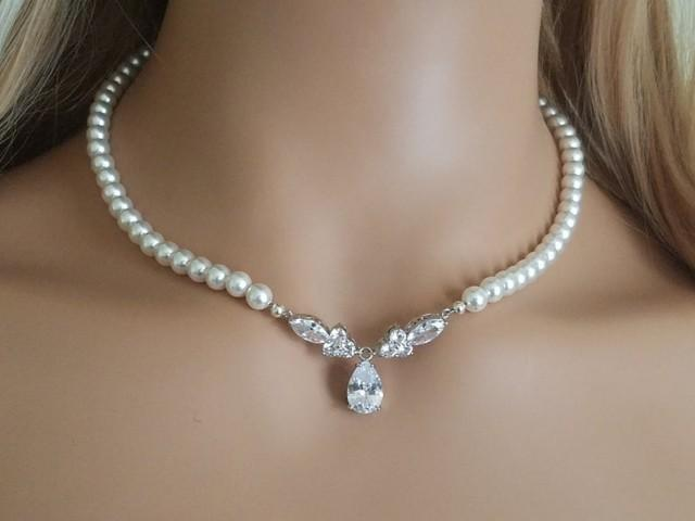 wedding photo - Pearl Bridal Necklace, Swarovski White Pearl Cubic Zirconia Necklace, Wedding Pearl Statement Necklace, Bridal Pearl Jewelry Wedding Jewelry